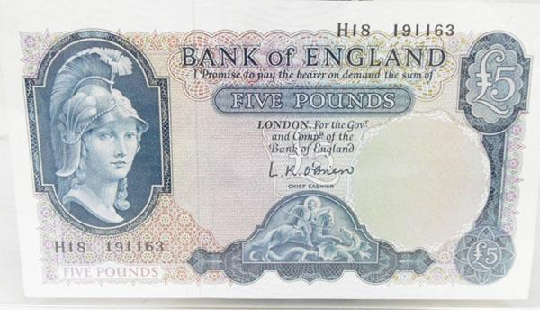 Old Britania Five pound note No H18 191163 good condition