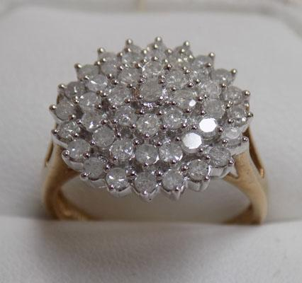 9ct gold 1 carat diamond cluster ring (size P)