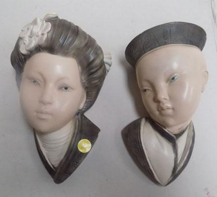 Pair of Chinese boy & girl wall face masks