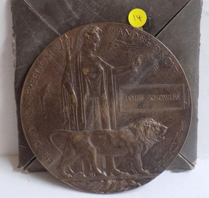 WWI British Army Death plaque with case