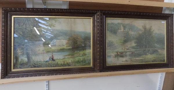 Pair of quality prints of Haddon Hall & Chatsworth House & Grounds in Oak Frames