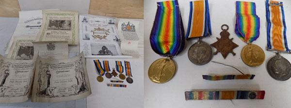 WWI PTE G Mason & F Mason medals with paperwork