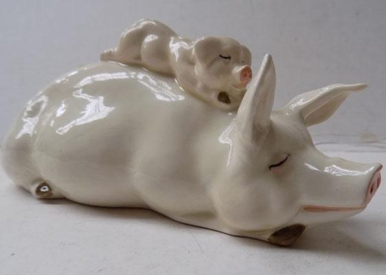 Beswick Pig with piglet on back