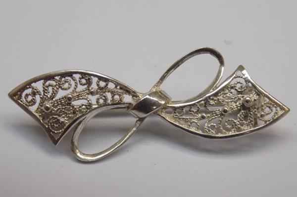 Sterling 925 silver filigree brooch
