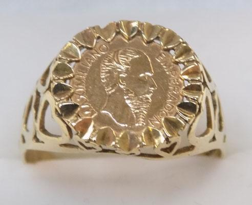 9ct gold ring set with a 1865 mexican gold coin size R