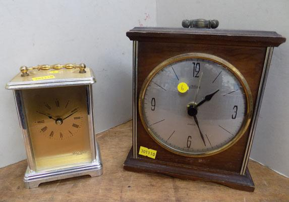 Two mantle clocks, wood/brass