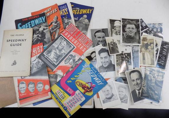 Selection of vintage speedway programmes and speedway photos inc; signed autograph
