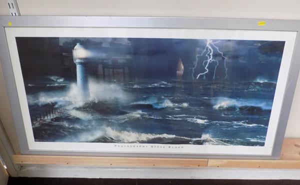 Framed photography by Steve Bloom, Lighthouse storm