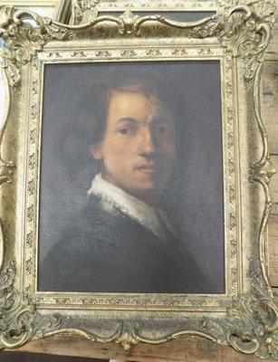 Gilt framed oil painting copy of Rembrandt self portrait