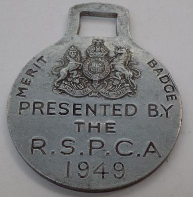 Alluminium merit badge presented by the RSPCA 1949