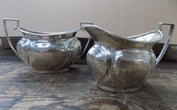 Sterling silver sugar bowl and milk jug-Sheffield 1900