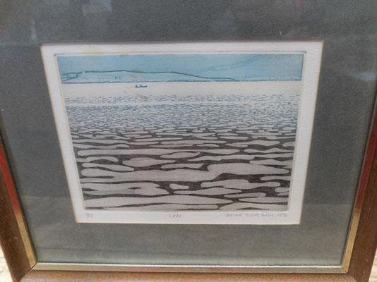 Numbered drypoint etching 'Lake' by Derek Wilkinson 1975