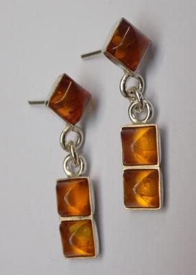 Pair of 925 silver and amber earrings