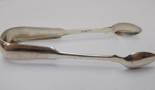 Large pair of antique silver sugar tongs - Glasgow, circa 1835