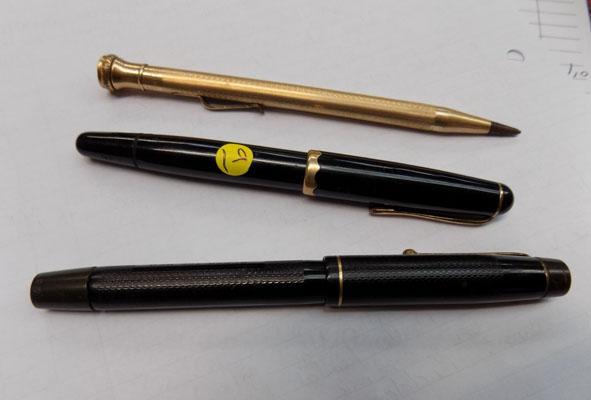 3 pens including  gold nib