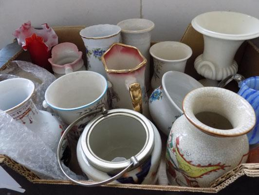 Box of ceramics, incl Crown Ducal & Port Meirion