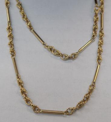 "Unusual 9ct gold chain 23"" lone"