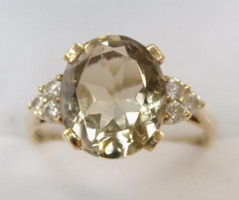9ct gold light lemon citrine cluster ring size R