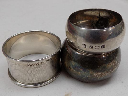 2x Solid silver napkin rings & 1 other