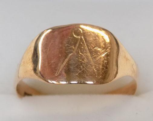 Vintage 9ct rose gold signet ring size Q1/2