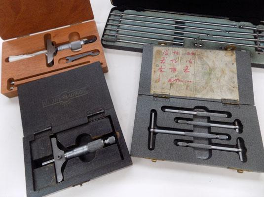 "Moore & Wright inside micrometers 2-12"", telescopic gauges 1/2""-21/8"", depth gauge 0-1 & Starett depth gauge 0-3"""
