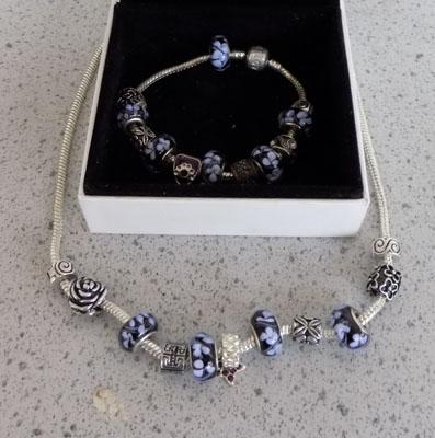 Pandora style matching necklace and bracelet