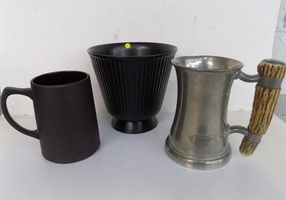 Two pieces of Wedgewood basalt & pewter stein