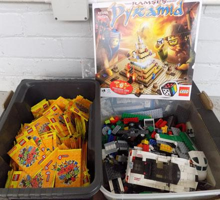 Box of genuine Lego bricks (some sealed) + 292 packs of Lego cards