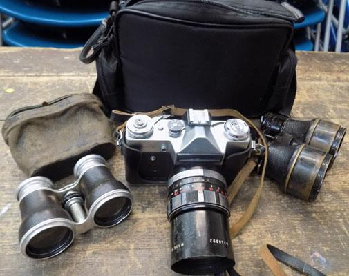 1 case- camera, lenses and 2 opera glasses