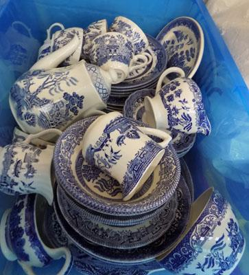 Box of Blue/White pottery - 48 pieces