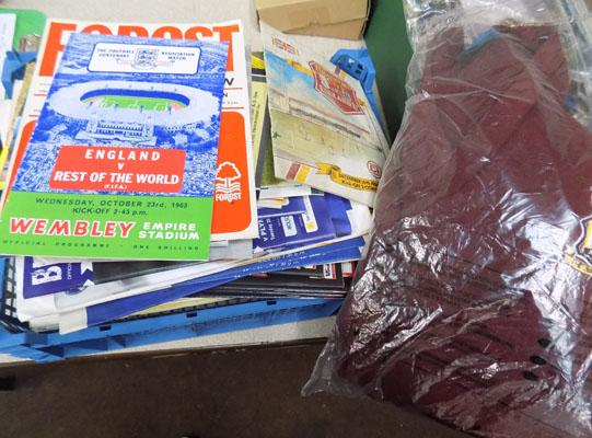 Box of football programmes-mainly Bradford City + jumper