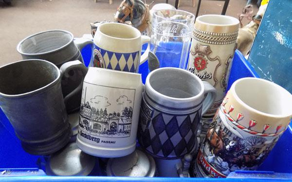 Tankards & 1 box inc ceramics, German, Pewter etc