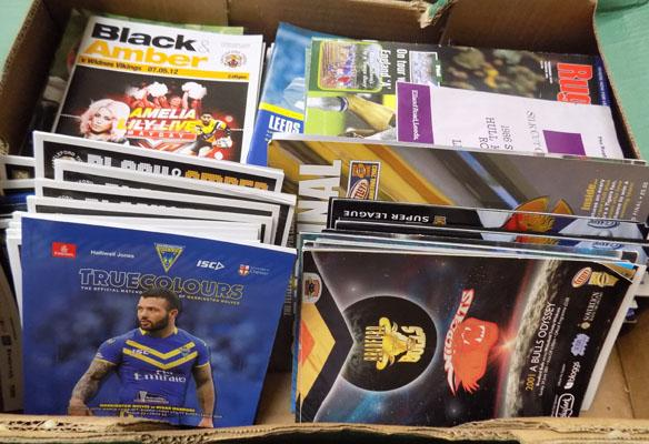 Box of Rugby league programmes-over 100