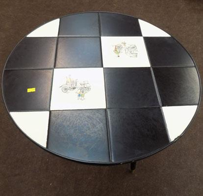 Retro round black tile top table