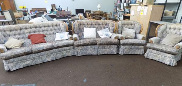 Three seater & 2 seater sofa & 2 armchairs