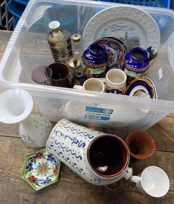 Box of mixed ceramics incl German & Japanese pottery