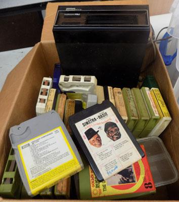 8 track player and cassettes