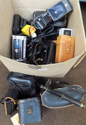 Large box of camera equipment & accessories
