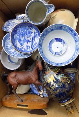Box of mixed ceramics, incl. blue & white