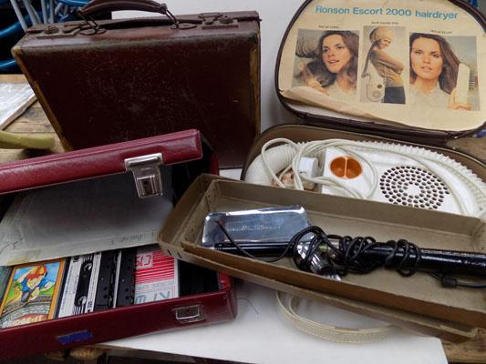 Collection of vintage items inc small suitcase, hair tongs, hairdryer & cassette case with cassettes