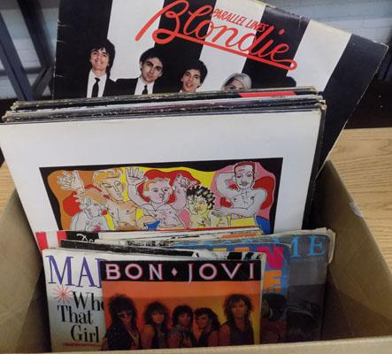 Box of LPs & singles, incl. Bon Jovi, Meatloaf, Blondie