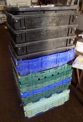 Job lot of stacking boxes/ crates