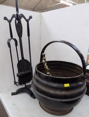 Fireside companion set, coal cauldron & fireside implement