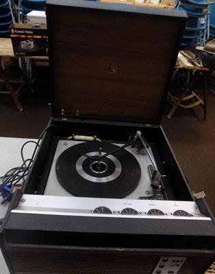 Retro lift top record player (HMV) w/o