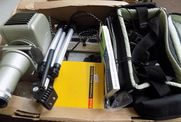 1 box projector, accs. , tripod, camera and lightmeter