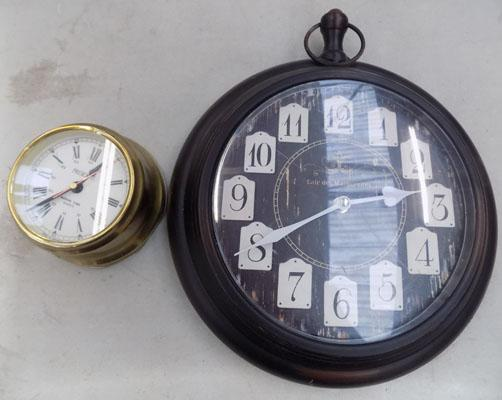 Brass style ship's clock & 1 other modern clock