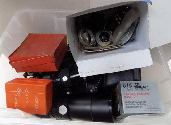 Box of vintage cameras and camera accessories