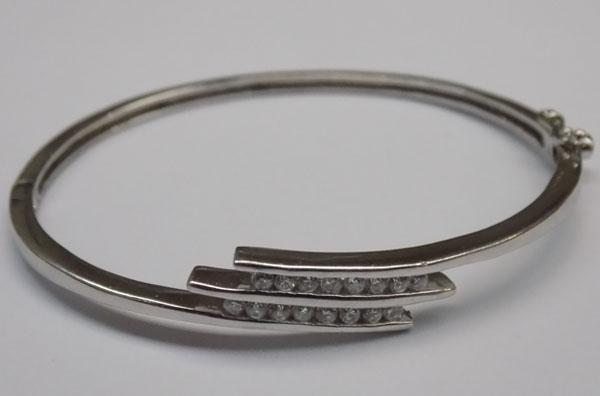 Sterling silver bangle with clear stones - unusual clasp