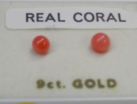 Pair of 9ct Gold & Coral ear rings