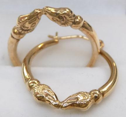 Pair of 9ct gold double ram's head hoop earrings